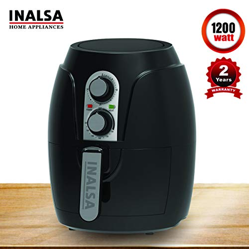 Inalsa Air Fryer 2.3 L Crispy Fry-1200W with Smart Rapid Air Technology, Detachable Dishwasher Safe Basket, Timer and Fully Adjustable Temperature Control for Healthy Oil Free & Low-Fat Cooking(Black)