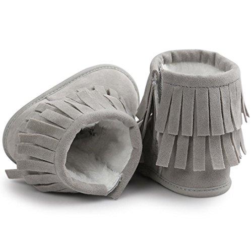 Baby Halten Warme Krippe Schuhe Kleine Sohle Schneestiefel (12, Wassermelonenrot) Grau2