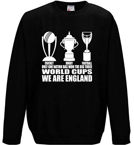 Herren Sweatshirt England Fan The Only 3 World Cup Winners Football Rugby Cricket Gr. Large Passen Brust 112 cm, Schwarz -