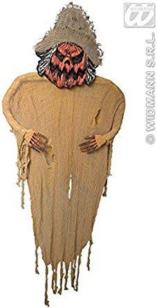 Kürbis-Vogelscheuche Riesen-Halloween-Hängedeko braun-orange 190cm (Anzug Vogelscheuche)