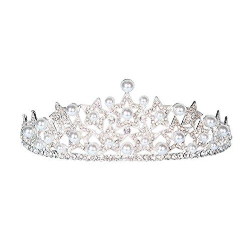 e Tiara Barock Vintage Kristall Strass Perlen Stern Form Prinzessinkrone Hochzeitskrone(Weiß) ()