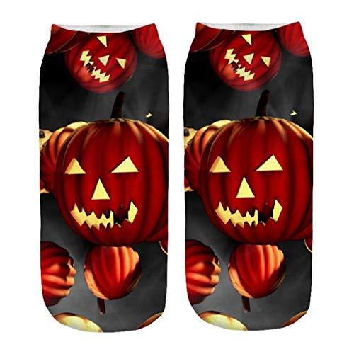 Skxinn Unisex Winter Sportsocken,Halloween Pumpkin Bedruckte Kurze Socken/Lässige Niedliche Söckchen für Frauen,Weihnachtsdruck 3D Socken(Z02-C)