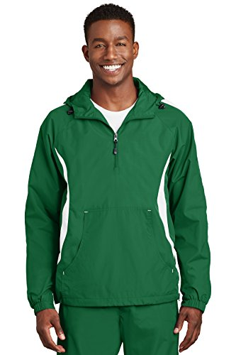 Sport-Tek® Colorblock Raglan Anorak. JST63 Kelly Green/White XS -