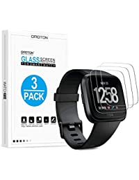 OMOTON [3 Stück] Panzerglas Schutzfolie für Fitbit Versa Health & Fitness Smartwatch, 9H Härte, Anti-Kratzen, Anti-Öl, Anti-Bläschen