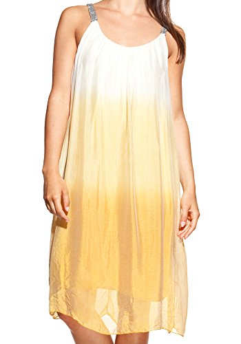 LauraMoretti-Robe en soieavecdécolletéUet bretelles lumineuses Jaune