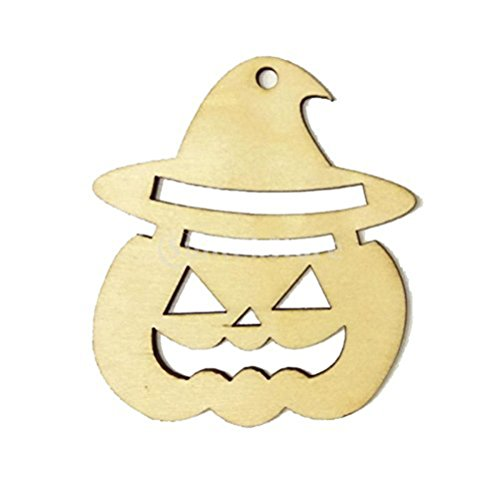 WINOMO Regalo di Halloween Hanger Viso Zucca Forma in legno Tag Ornamento 10pz