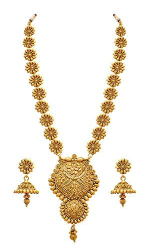 Meenaz Jewellery Traditional Long haram One Gram Kundan Pearl Wedding Bridal Sarees Stylish Party wear Pendant Necklace set /Jewellery Set for women girls Jhumka Jhumki Earrings for girls Womens,- Jew