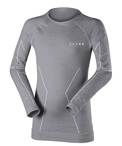FALKE Kinder Wool-Tech Longsleeved Shirt Kids Sportunterwäsche, Grey-Heather, 110-116 | 04043874259156