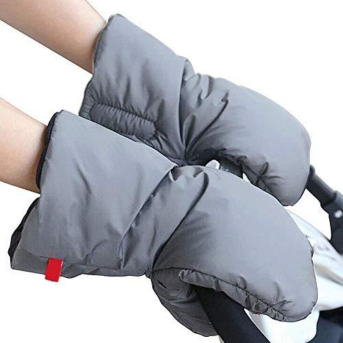 Kompassswc 1 Paar Kinderwagen Baumwolle Handwärmer Winter Handmuff Winddicht Wasserdicht Handschuhe mit Fleece Innenseite klettverschluss Universal für Kinderwagen Buggy Rollator (Grau)