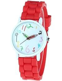 FEOYA - Reloj Infantil Adolescentes de Silicona Diseño de Analogico Cuarzo Reloj de Pulsera Colorido Esfera Grande para Aprender la Hora - Rojo