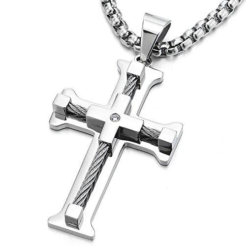 Große Edelstahl Kreuz-Anhänger Halskette für Herren mit Verdrehten Stahlkabel und Zirkonia 75cm Stahl Weizen-Kette (Paare Für Kreuz Halsketten)