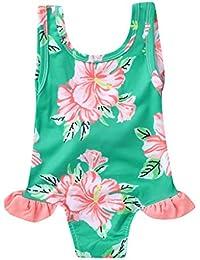 aac65c31d0 Baby Girls Cute One Piece Swimsuits Flower Printed Swimwear Swimming  Costumes Bathing Suits Beachwear (Green