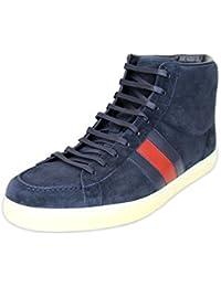Gucci Marina de guerra ante cuero Brb Web detalle Hightop Sneakers 337221 (10.5 U.S. / 10 G, Marina de guerra)