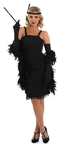 Damen Schwarz Rot Lila Silber 1920s 30s Flapper Charleston Great Gatsby Fransen Mit Quasten Kostüm Kleid Outfit 8-30 Übergröße - Schwarz, (Gatsby Flapper Kleid Kostüm)