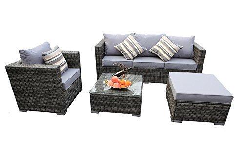Yakoe Papaver Serie Outdoor 4-Teilig Polyrattan Lounge Ecksofa Sitzgruppe Gartenmöbel Sitzgarnitur,...