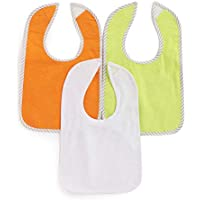 Bumzee Cotton Feeding Bibs - Pack of 3 for Baby Age 0-18 Months - Multi