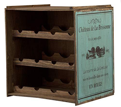 BigDean Weinregal Blau/Türkis Flaschenregal Regal Weinständer Weinlager Weinschrank Küchenregal Vintage Used Shabby chic - Für 12 Flaschen - Stapelbar - wundervolle Dekoration