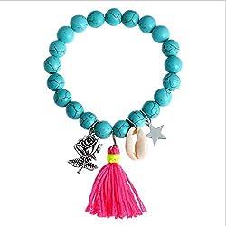 Türkis Armband Handschnur für Frauen Mädchen Türkis Perlen Handgelenk Dekor Blau Grün Frish Stil Volkskunst Handgelenk Zubehör Elegant Urlaub Stil Accessories