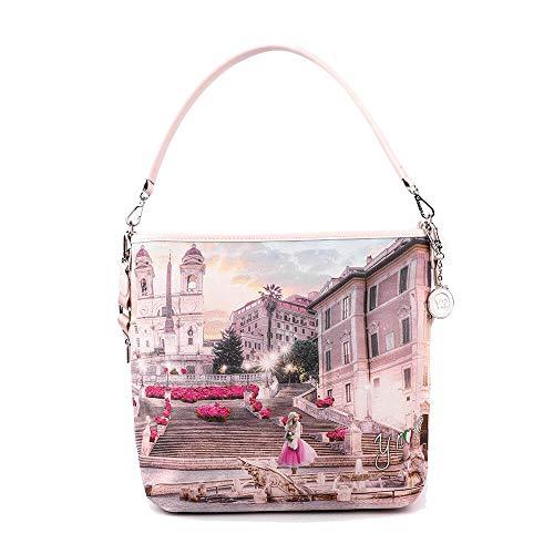 Y NOT? Frauentasche mit Schulterriemen L-349 ROSA R UNICA Pink r