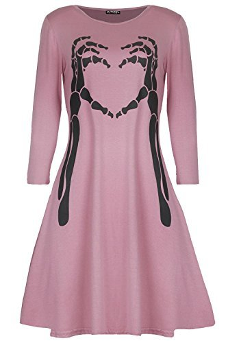 lloween Kostüm Skelett Knochen Herz Kittel Swing Minikleid - rosa, Plus Size (UK 24/26) (Herz-dame Plus Size Halloween-kostüm)