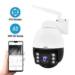 PTZ WiFi IP Kamera 5MP, Dome überwachungs Kamera Aussen, 4-facher optischer Zoom,30M IR-Nachtsicht, Eingebautes Zweiwege-Audio,IP66 wasserfest, Kompatibel mit 128GB SD-Karte,ONVIF