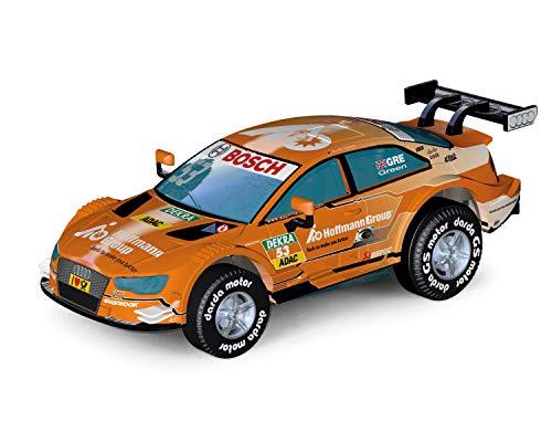 Darda 50393 Auto Audi RS5 DTM Green, Rennauto mit auswechselbaren Rückzugsmotor, Fahrzeug mit Aufziehmotor für Kinder ab 5 Jahre, Rückziehauto Rennbahnen, orange
