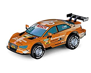 Darda 50393 - Coche Audi RS5 DTM Green, coche de carreras con motor de tracción intercambiable, vehículo con motor de arrastre para niños a partir de 5 años, coche de carreras de marcha atrás, color naranja