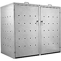 Zelsius - Caja para 2 contenedores de Basura de 120 o 240 litros Cada uno I Revestimiento para contenedores con 2 Tapas I Caja de Basura de Metal Diseño Rhombus Cement I con Cerradura