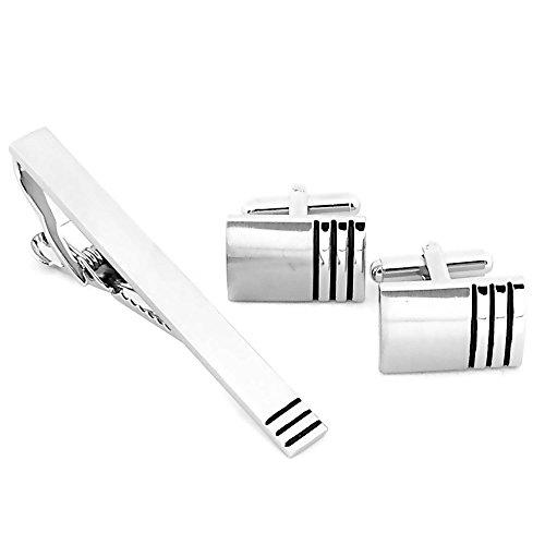 tumundo Set aus 2 Manschettenknöpfe + 1 Krawattennadel + Etui Krawatte Cufflinks Business Silbern Schwarz Gestreift