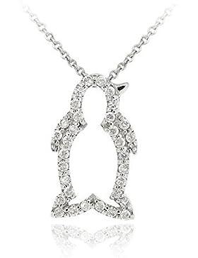 Luxuriöser Pinguin Ketten-Anhänger mit Diamant Akzent, Sterling Silber