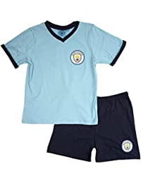 Boys Official Manchester City MCFC Football V-Neck Shorty Pyjamas sizes from 3 to 12 Years