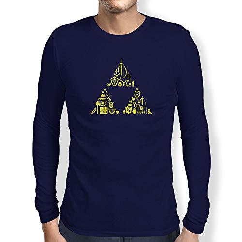 Texlab Link's Stuff - Herren Langarm T-Shirt, Größe S, Navy (Hyrule Warriors Legends Kostüm)