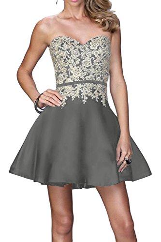Ivydressing Damen Beliebt Spitze Applikation Herzform A-Linie Promkleid Partykleid Abendkleid Silber