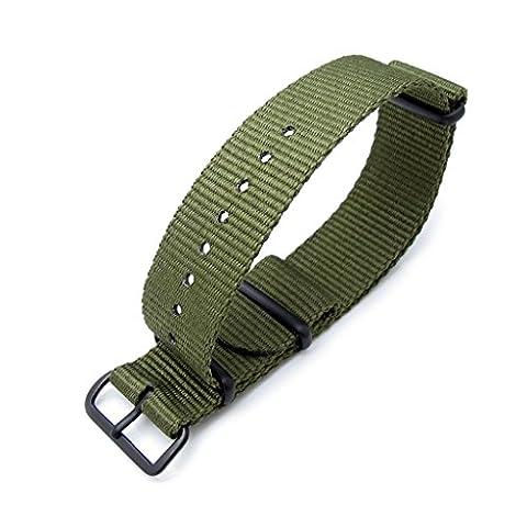 MiLTAT 21mm G10 NATO watch band, ballistic nylon, PVD black hardware, forest green