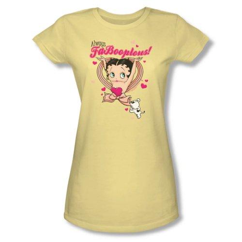 Banana Juniors T-shirt (Betty Boop - Ausgangspunkt und entdecken! - Junior Banana Kurzarm T-Shirts für Frauen, X-Large, Banana)