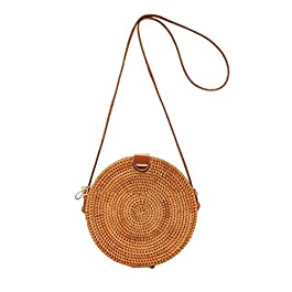 Handmade rattan rotondo quadrato borsa a tracolla Crossbody paglia rattan intrecciata bag spiaggia