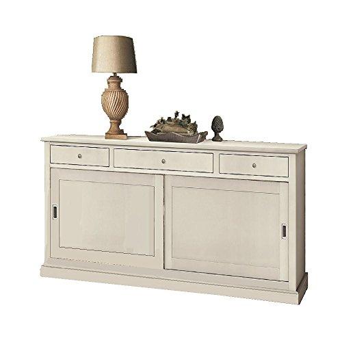 Inhouse srls credenza 2 porte, arte povera, in legno massello e mdf con rifinitura in bianco opaco- mis. 200x50x90h