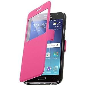 Housse Folio Stand ultra-fine à fenêtre - Colorfone - Fushia pour Samsung Galaxy J5
