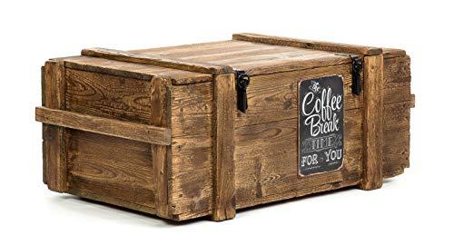Own design Voyage Vieux Coffre Table Basse Cottage cuiseur Vapeur Coffre en pin avec Vintage Tin Sign Hauteur : 45 cm Profondeur : 60 cm Largeur : 110 cm