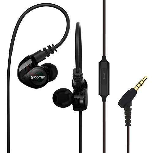 Écouteurs Sport, Adorer RX6 Basse Filaire Intra-Auriculaires avec Micro, Anti-Bruit et Résistant à la Transpiration Ecouteur pour iPhone, iPad, Samsung, Smartphones - Noir