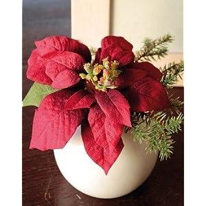 artplants.de Flor de Pascua Wanda en Maceta de cerámica, Rojo, 14cm, Ø 20cm – Flor sintética – Planta Artificial