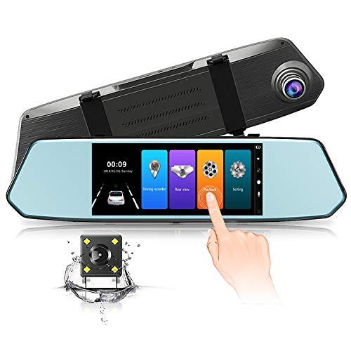 Dashcam Cámara Coche Espejo Retrovisor con Pantalla de Táctil de 7 pulgadas, Full HD 1080P Dash Cam con 170°Gran Ángulo, Visión Nocturna, Camara Para Coche con G-Sensor Grabación De Bucle