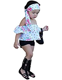 3PCS Bebé Floral hombro camiseta +corta Denim pantalones +diadema ropa Conjunto,Yannerr niña primavera vaqueros tejana bordada Jeans manga larga top mono abrigada abrigo traje