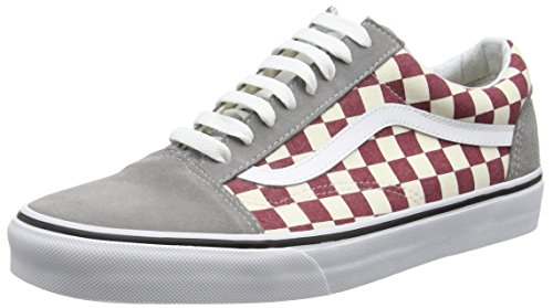 Vans U Old Skool, Baskets Basses Mixte Adulte Multicolore (Checkerboard/Frost Grey/Rhubarb)