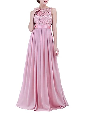 TiaoBug Women Ladies Empire Waist Embroidered Chiffon Wedding Bridesmaid Dress Long Evening Prom Gown Plum 10