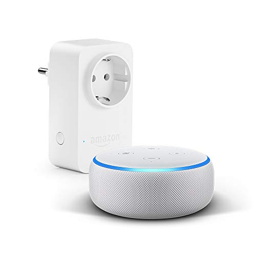 Echo Dot (3.ª generación), tela de color gris claro + Amazon Smart Plug, compatible con Alexa