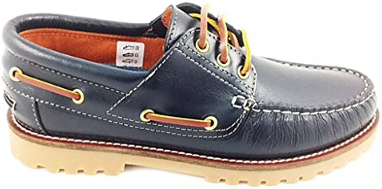 Zapato Náutico para Hombres, Color Azul Marino con Cordones, en Piel - 111671