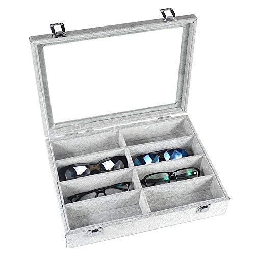 Zhongsufei Sonnenbrille Aufbewahrungsbox Sonnenbrillen Vitrine Sunglass Eyewear Display Storage Case Tray (Farbe : Grau) -