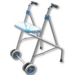 PRIM | Andador para ancianos de aluminio | Con ruedas dobles delanteras y asiento | Regulable en altura con puños anatómicos | Materiales de primera calidad | 100% seguro