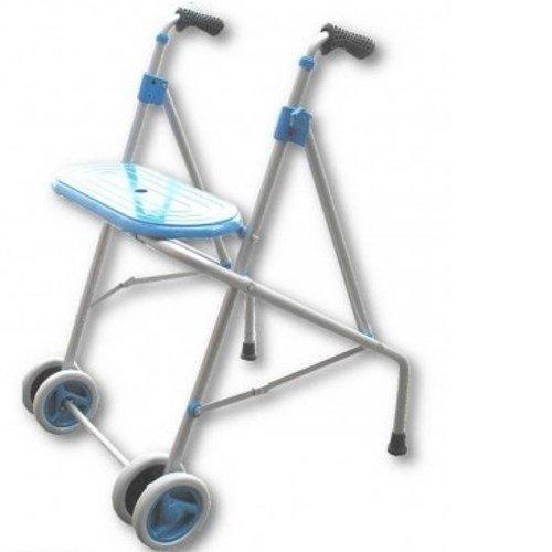 PRIM | Andador para ancianos de aluminio | Con ruedas dobles delanteras y asiento | Regulable en altura con puños anatómicos |